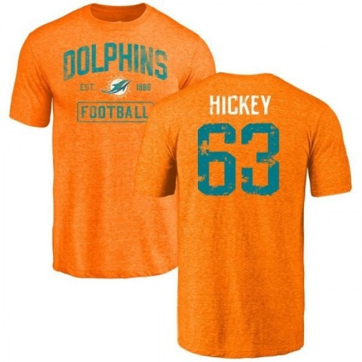Sean Hickey Miami Dolphins Youth Orange Distressed Name & Number Tri-Blend T-Shirt