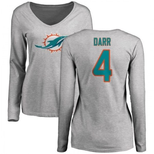 Matt Darr Miami Dolphins Women's Pro Line Name & Number Logo Slim Fit Long Sleeve T-Shirt - Ash