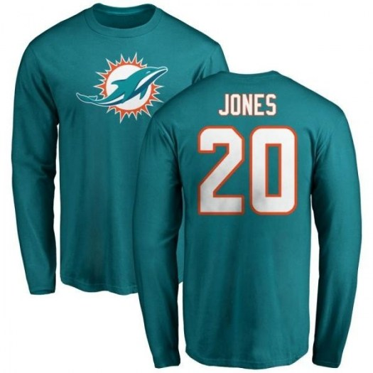 Reshad Jones Miami Dolphins Youth Aqua Pro Line Any Name & Number Logo Long Sleeve T-Shirt -
