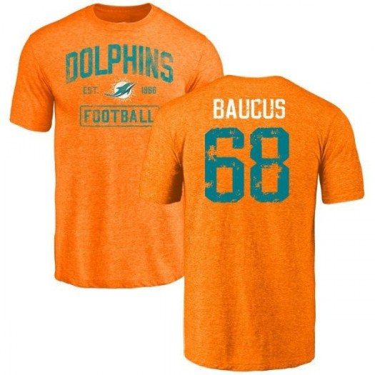 Mickey Baucus Miami Dolphins Men's Orange Distressed Name & Number Tri-Blend T-Shirt