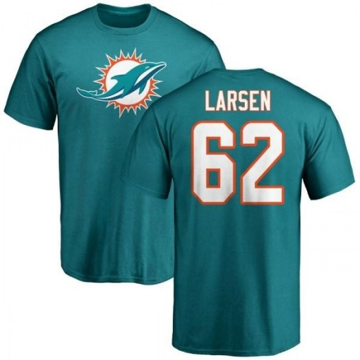 Ted Larsen Miami Dolphins Men's Aqua Pro Line Any Name & Number Logo T-Shirt -