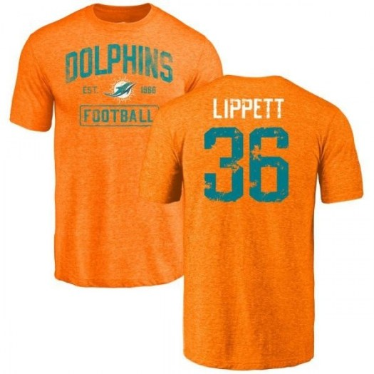 Tony Lippett Miami Dolphins Youth Orange Distressed Name & Number Tri-Blend T-Shirt